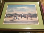 Peter Hurd Signed Print Western Horse Cowboy Scene New Mexico Artist