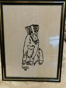 Borzoi Hound Puppy Framed Drawing Signed88on Fabric 8 1/2 X 11