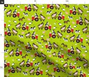 Farm Cow Horse Pig Chicken Tractor Sheep Animals Spoonflower Fabric By The Yard