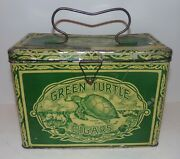 Antique Tobacco Green Turtle Cigar Tin Lunch Box Advertising 120+ Years