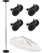 Boat Cover Support System Stand Kit With Adjustable Telescopic Pole And 4 Straps