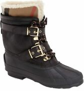 Shearling And Check Leather Rain Snow Boots New Authentic