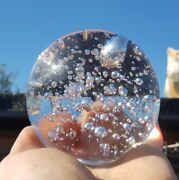 Vintage Large Clear Hand Blown Paperweight Beautiful Bubbles