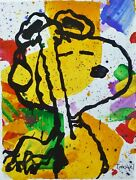 Tom Everhart Salute Snoopy Peanuts Lim.ed.collectible Lithograph Plate Signed