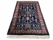 4x6 Vintage Handmade Wool Geometric Rug Organic Dyes Blue Red Hand-knotted Rug