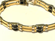 14 Kt. Yellow Gold Mens Bracelet With Onyx