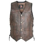 Menand039s Distressed Brown Genuine Leather 10 Pockets Motorcycle Biker Vest S To 6xl