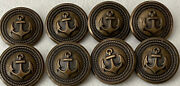 Vintage Navy Military Anchor Rope Uniform Buttons Brass Copper Lot Of 8