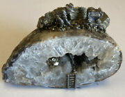 Large Quartz Crystal Geode With Extensive And Detailed Mining Scene
