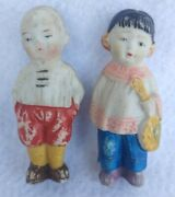 Antique Old Vintage Pair Of Bisque Dolls Asian Child Japanese Boy And Girl Japan