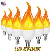 Led Flame Flickering Bulb Fire Emulation Light E14 E12 Candle Lamp 3 Modes Party