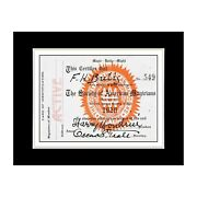 1920 Harry Houdini Magician Membership Card - Matted For 11x14 Frame
