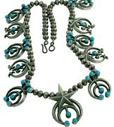 Native American Squash Blossom Necklace Signed Navajo Kingman Turquoise Jewelry