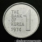 Korea South 1 Won 1974. Km4a. One Dollar Coin. Rose Of Sharon. 1968-1982 Issued