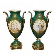 Antique Pair Of French Green Gold Tone Hand Painted Secne Of Women Ormolu Sevres