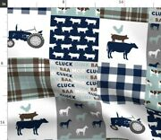 Pig Patchwork Cow Chicken Wholecloth Tractor Spoonflower Fabric By The Yard