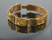 18k Solid Yellow Gold Vintage 3d Hand Cot Bracelet With 6 Sections Bw62