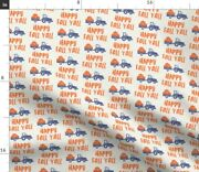 Orange Fall Thanksgiving Pumpkins Tractor Spoonflower Fabric By The Yard