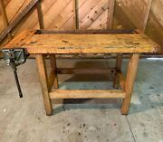 Antique Early 1900and039s Work Bench - With Original Viseandnbsp Excellent Condition.