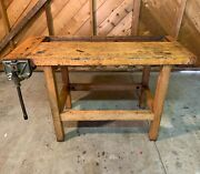 Antique Early 1900's Work Bench - With Original Vise Excellent Condition.