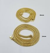 Solid 10k Yellow Gold Miami Cuban Necklace Box Lock 6mm 7mm 22 24 Heavy