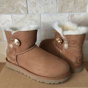 Ugg Classic Mini Bailey Button Bling Chestnut Suede Fur Boots Size Us 7 Women