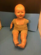 Antique Vintage Baby Doll 21 Composition And Cloth Needs Arm W/ Old Clothes
