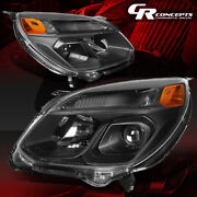 Pair Black Amber Projector Headlight Lamps Assembly For 2016-2017 Chevy Equinox