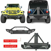 Hooke Road Front Rear Bumper W/d-rings And Tire Carrier Fit 97-06 Jeep Wrangler Tj