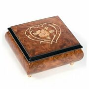 Double Hearts Italian Hand Crafted Inlaid Wood Jewelry Music Box Plays Ode To