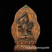 """8.8"""" China Collectibles Tibetan Buddhism Hand-carved Flower Pear Wood Tara"""