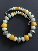 Moroccan Bicone Silver Beads And Amazonite With African Amber Berber Boho Necklace