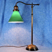 Antique Emeralite Brass Bankers Lamp- Green Cased Shade- Adj. Curved Swing Arm