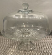 """Vintage Clear Glass 12 """" Cake Plate With Heavy Dome Cover On Pedestal Base/stand"""