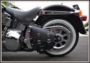 Leather Solo Bag Black For Harley Softail And Other Motorcycle Custom - New