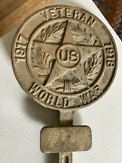 Wwi Veteran Grave Marker - In Cast Bronze And Flag Holder With Solid Stake