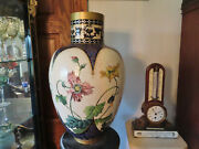 Huge Antique 19th C.french Hand Painted Vase 21 In.tall Dated1873