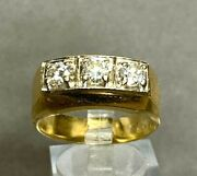 Vintage Menand039s 14k Yellow Gold With Round Diamonds Ring .90 Cts T.d.w.