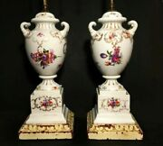 Antique Urn Lamps. Porcelain Handled Urns With Dual Sockets And Pull Chains.