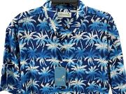 Menand039s Caribbean Palm Trees Shirt Size Xl Blue White Hawaiian Aloha Button Up New