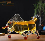 1l Unique Whiskey Decanter Glass Crystal Bottle Display Dispenser Wine Cow Bull