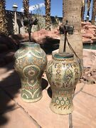 Two Original Moroccan Outdoor Vases Converted Into Lamps Beautiful And Unique.