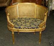 French Louis Xvi Caned Cane Corbeille Settee Chair