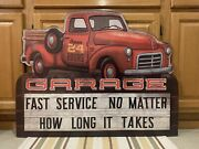 Garage Metal Sign Vintage Style Red Truck Tools Parts Oil Gas Fast Service