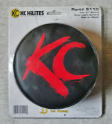 Pack Of 2 New Kc Hi Lites 5110 6 Round Black W/ Red Letters Vinyl Light Covers