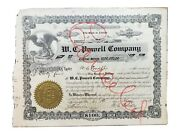 Rare 1919 W. C. Powell Company Fl Stock Certificate 3 Signed By Powell