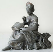 Antique Metal Spelter Mantle Clock Topper Lady With Guitar - Very Rare