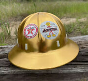 1959 Vintage Apex Electrical Safety Helmet Gold Aluminum Nos Scarce Leather Band