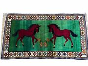 4 X 7 Handmade Rug Zagros Quality Wool Pictorial Horses Green Butterfly Colorful