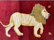 3 X 5 Handmade Rug New Vintage Hand-knotted Quality Wool Lion Organic Dyes Red